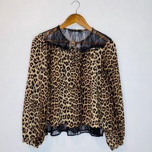 Zara leopard blouse with black lace detail